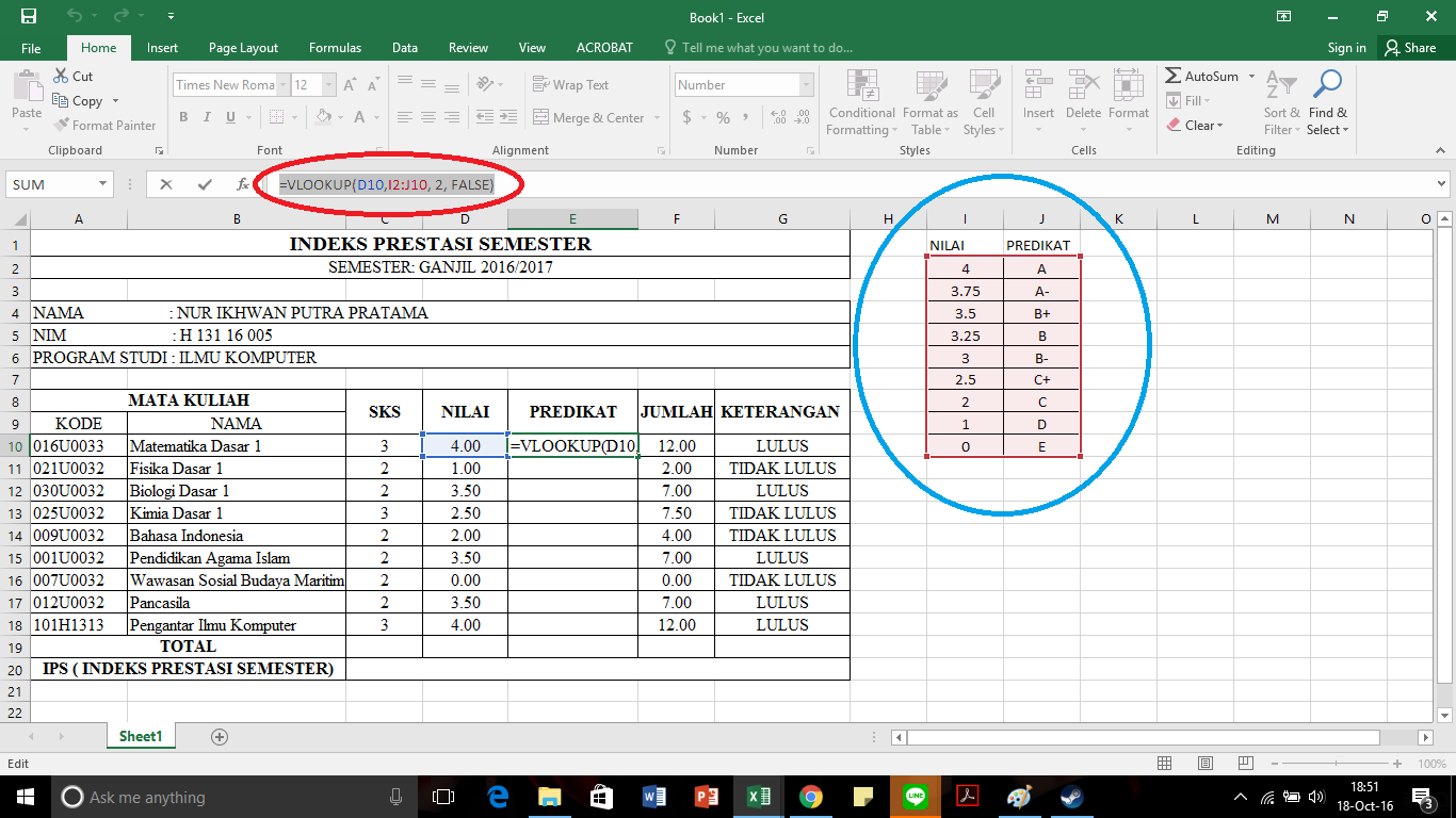 Cara Menghitung Indeks Prestasi Semester Dengan Ms.Excel ...