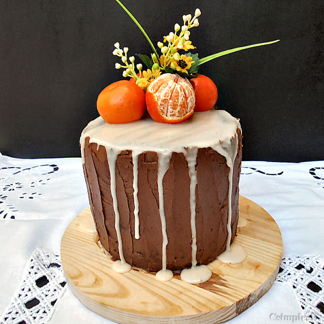 clementine and carrot cake with chocolate buttercream