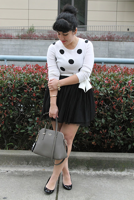 Polka Dot Sweater and Black Tulle Skirt Winter Outfit Inspiration