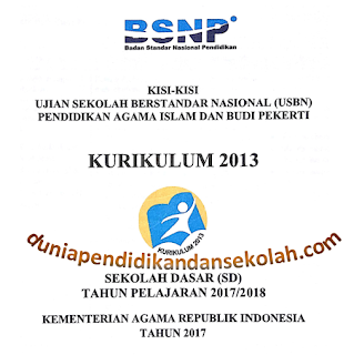 Download Kisi-Kisi USBN TP 2017/2018 Pendidikan Agama Islam (PAI) dan Budi Pekerti Kelas 1,2,3,4,5,6 SD Kurikulum 2013