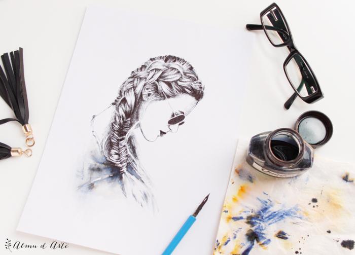retratos bonitos acuarela