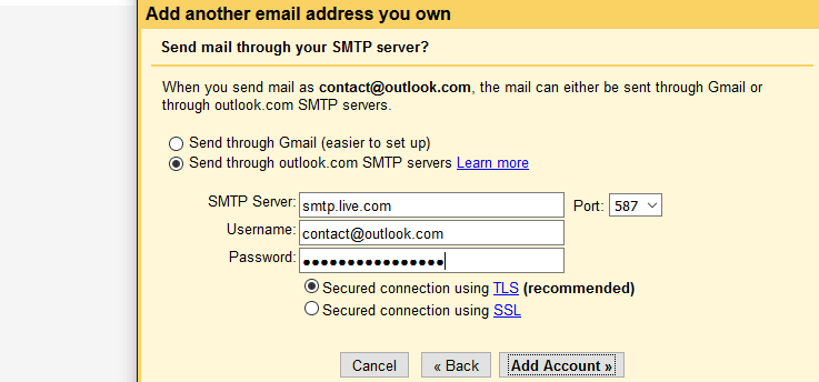 Outlook SMTP server settings within Gmail inbox