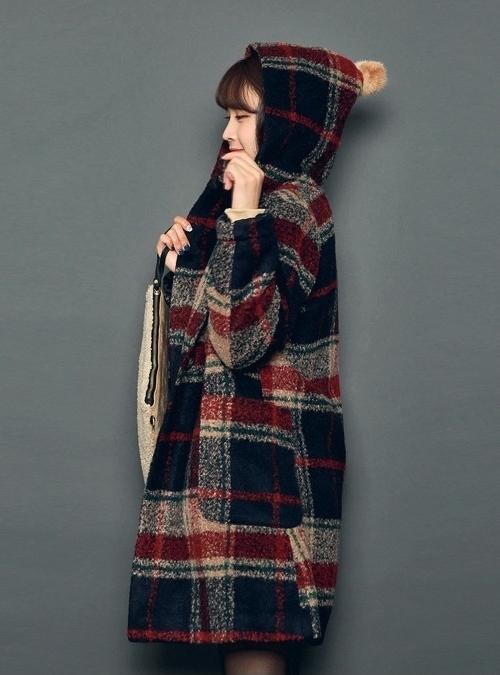 Check Hoodie Coat