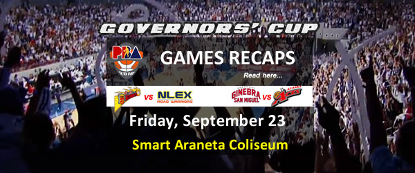 List of PBA Games Friday September 23, 2016 @ Smart Araneta Coliseum