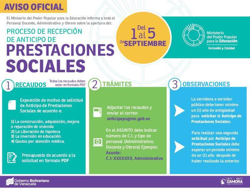 Solicitud de Anticipo de Prestaciones Sociales, vigente DESDE 1-9-2017 HASTA 05-9-2017