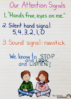 "Photo of ""Our Attention Signals"" anchor chart"