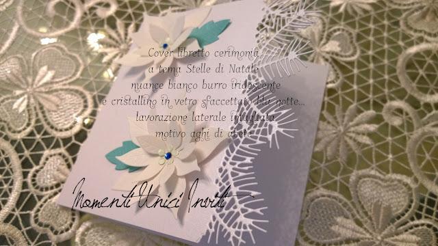 ab Cover libretto messa a tema Stelle di Natale... realizzate per Nicholas e ChiaraColore Bianco cover libretti Nozze d'Inverno Partecipazioni con pietre