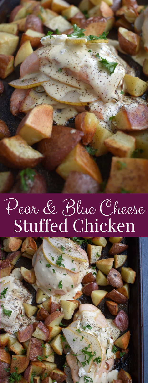 Pear and Blue Cheese Stuffed Chicken features an oven baked chicken breast stuffed with fresh pears, blue cheese and spinach and is topped with a creamy Dijon sauce! www.nutritionistreviews.com #chicken #dinner #healthy #holidays #holidayrecipes #sheetpan