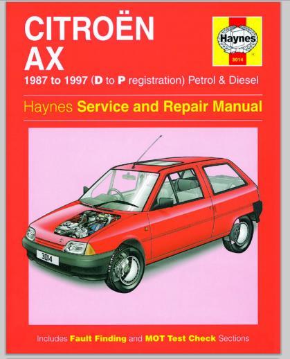 Citroen Ax 1987-1997 Manual Repair Haynes