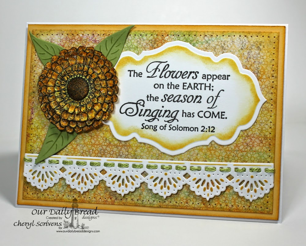 Our Daily Bread Designs, ODBDSLC200, Zinnia, The Lord Is Risen, Zinnia & Leaves Dies, Beautiful Borders Dies, ODBD Blooming Garden Collection Paper Pad, CherylQuilts, Designed by Cheryl Scrivens