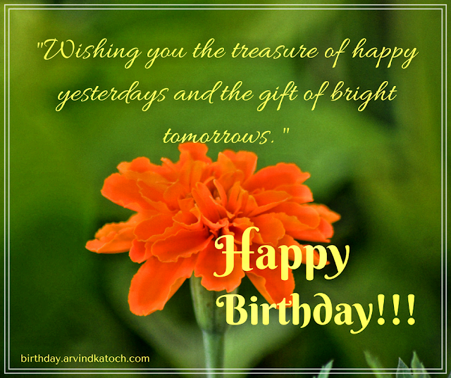 Treasure, Happy, Yesterdays, Gift, Bright, Tomorrow, Birthday Card,