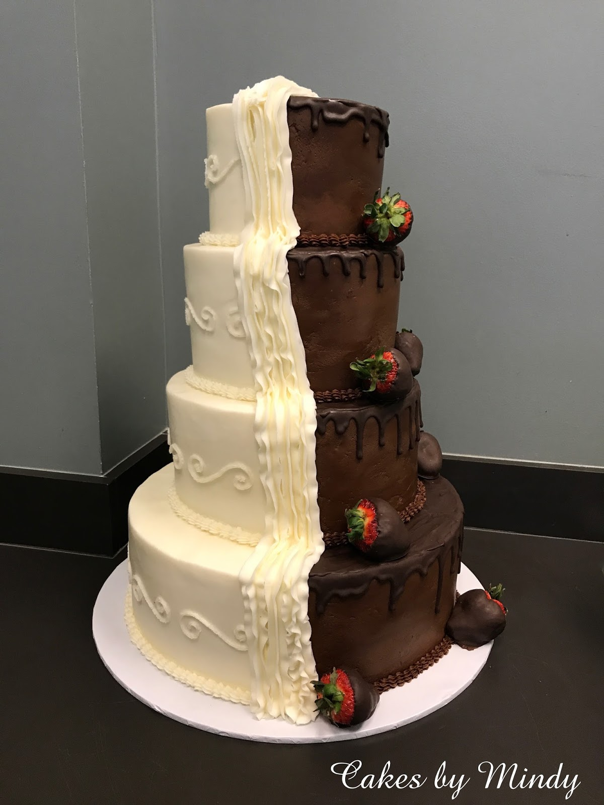 half chocolate and vanilla wedding cake cakes by 15049