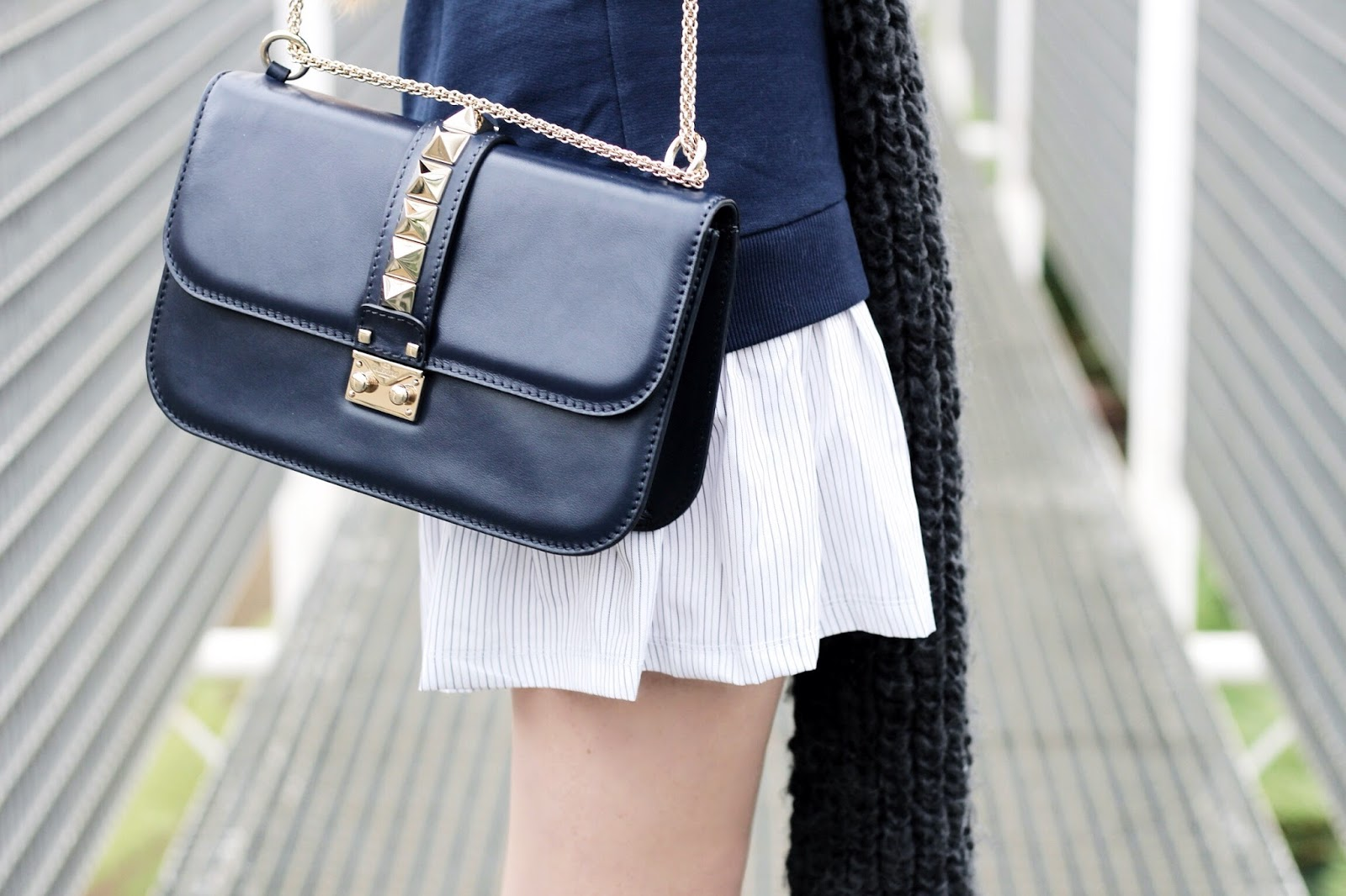 Navy blue Valentino lock stud medium bag