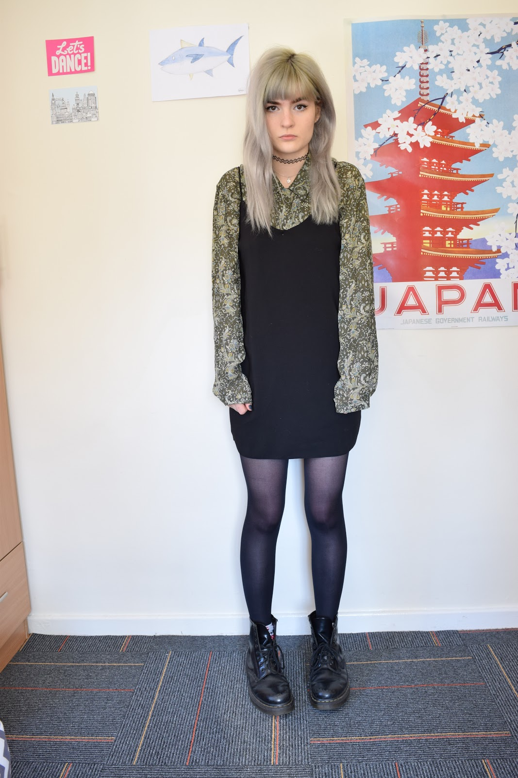 grey hair slip dress OOTD