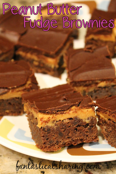 Peanut Butter Fudge Brownies // Grab a glass of milk - you're gonna need it with these decadent brownies! #brownies #dessert #peanutbutter #chocolate