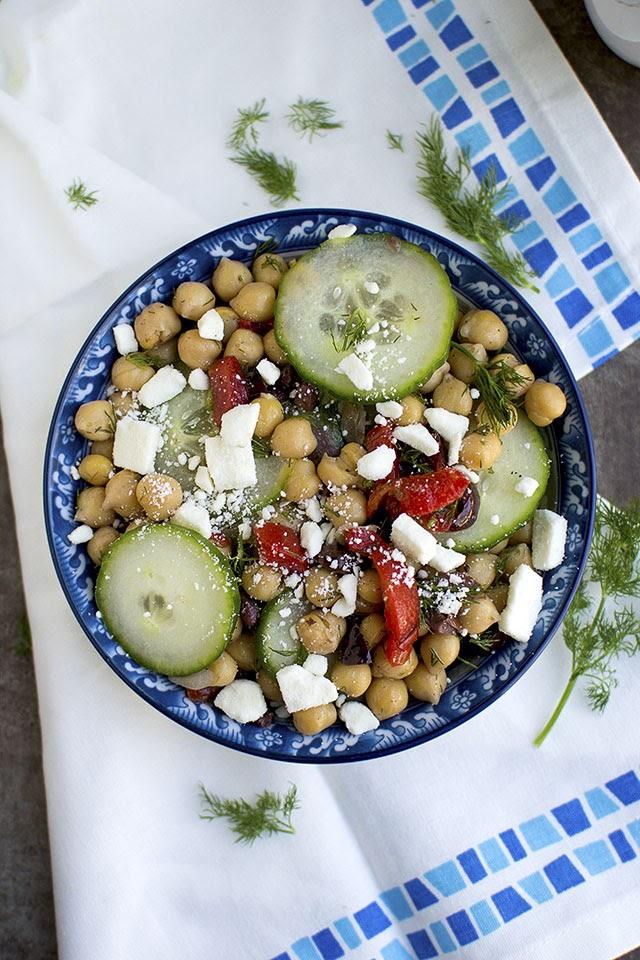 Greek style Cucumber & Chickpea Salad