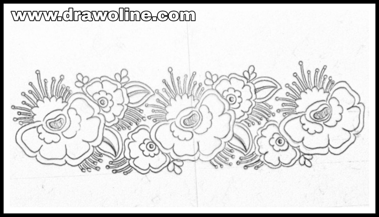 Flower borders design sketch tracing paper design for embroidery saree border pencil sketch on tracing paper how to draw border design border line design