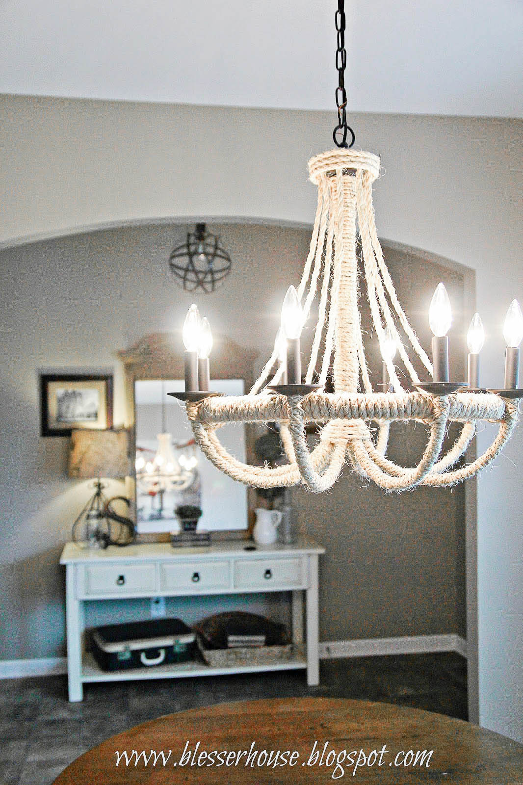 DIY Rope Chandelier-Bless'er House-How I Found My Style Sundays- From My Front Porch To Yours