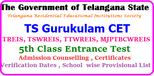 TS Gurukulam 5th class Admission Counselling 2017, Certificates Verification dates,School wise Provisional List TGCET 5th class entrance test 2017 certificates verification dates | TS Gurukul CET 5th class admissions counslling dates | TS Gurukulam CET 5th class admission call letters, Required documents, Reporting dates 2017 | List of documents for TG Gurukul CET Certificates verification | TGCET 2017 Results for school wise provisional list of Telangana Gurukul CET and more details | TS BC Welfare , SC Welfare, ST Welfare Gurukulam 5th class admissions common Entrance Test 2017 | This year the Government of Telangana , TSWREIS issued the TGCET 5th Class Entrance Test 2017 Notification on March 16th 2017 for 5th class admission in TRIES,SC,ST and BC welfare Residential Schools for the academic year 2017 -18 and tgcet online application forms were invited from the eligible students for admission in Telangana Gurukulams through TS Gurukul CET 2017 5th class admission test which was held on 09-04-2017| ts-gurukulam-5th-class-admission-counselling-2017-certificates-verificartion-dates-schoolwise-provisional-list- tgcet.cgg.gov.in. TS Gurukulam 5th class Admission Counselling 2017, Certificates Verification dates,School wise Provisional List/2017/05/ts-gurukulam-5th-class-admission-counselling-2017-certificates-verificartion-dates-schoolwise-provisional-list-tgcet.cgg.gov.in..html