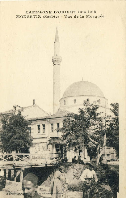 Isac mosque and the shops along the river Dragor viewed northwest