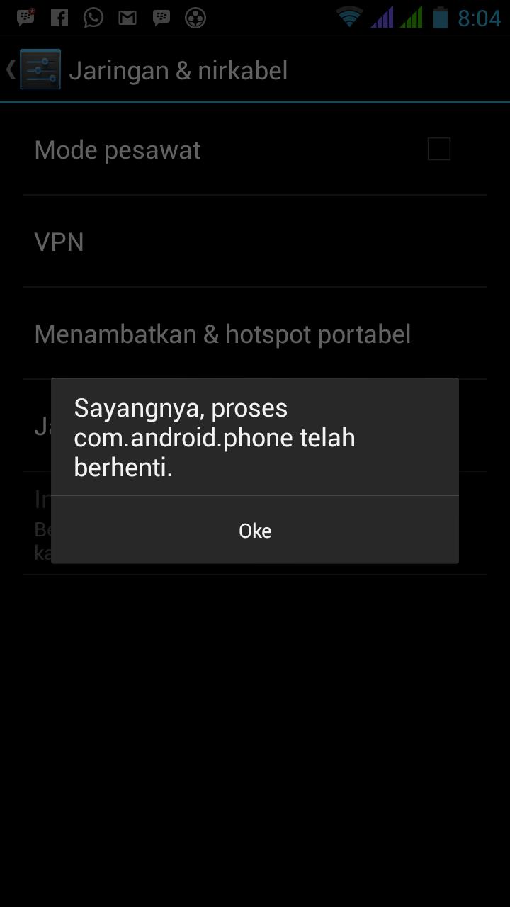 Mengatasi 'com.android.phone berhenti' saat buka aplikasi dan setting 3G