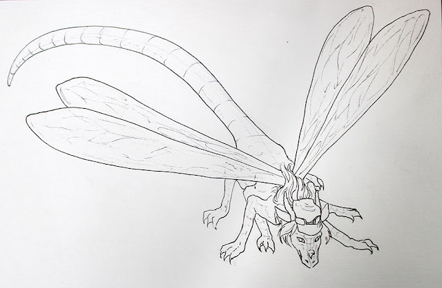 "commission d'un dragon libelule ""dragonfly"" - encrage"
