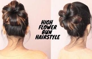 Easy High Flower Bun hairstyle For Medium To Long Hair/self hairtsyle