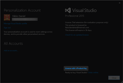 visual studio 2015  with crack for windows 7