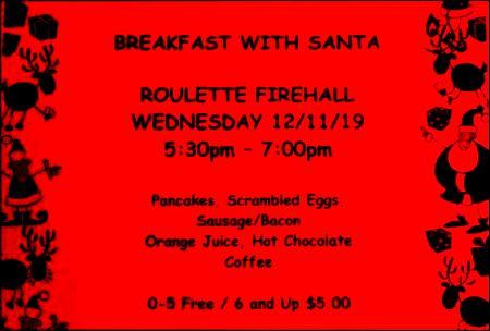 12-11 Breakfast With Santa, Roulette Fire Hall