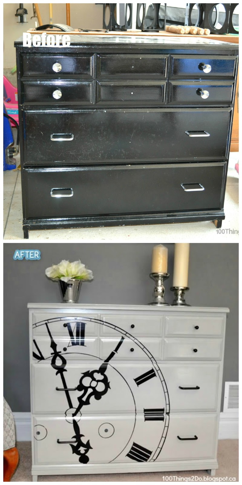 dresser makeover, painted dresser, refinished dresser, clock dresser