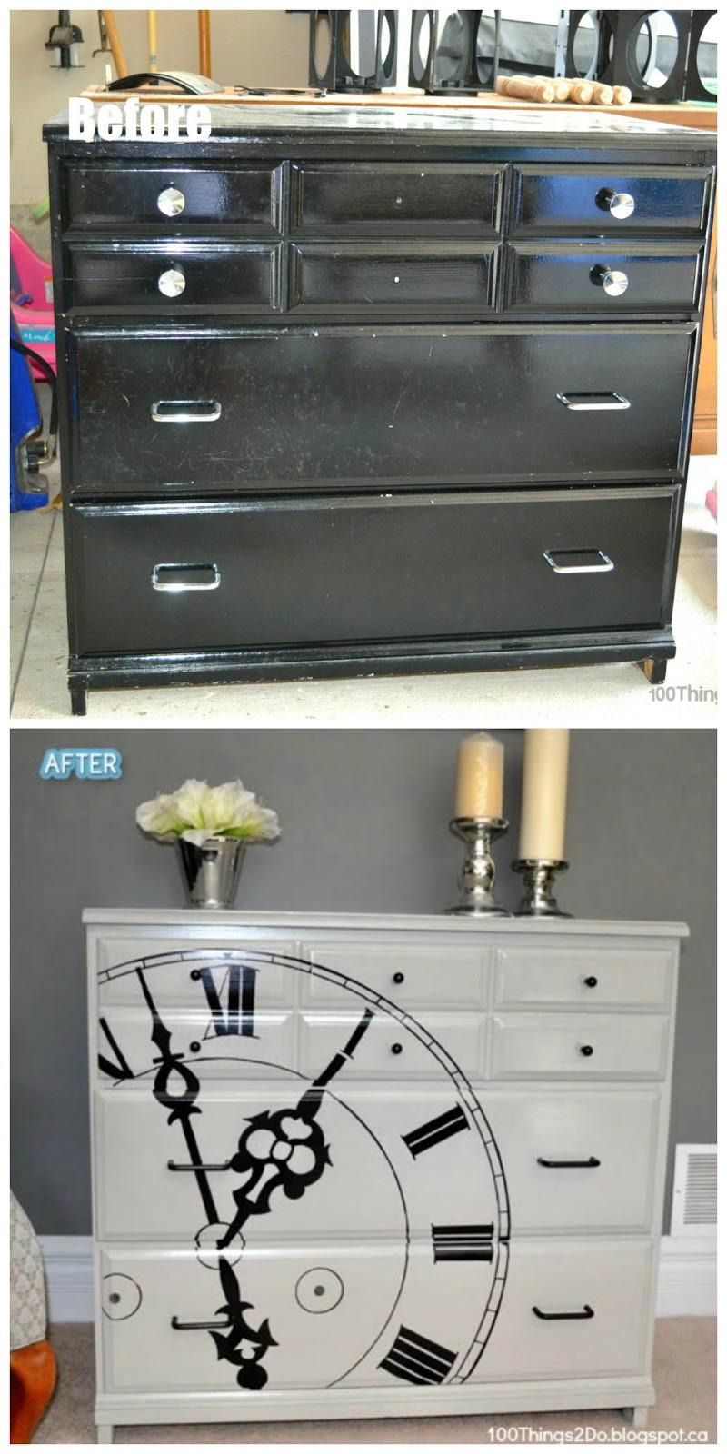 dresser makeover, painted dresser, refinished dresser, clock dresser
