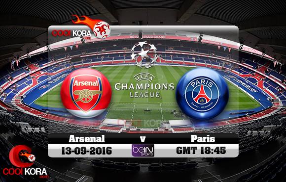 مشاهدة مباراة باريس سان جيرمان وآرسنال اليوم 13-9-2016 في دوري أبطال أوروبا