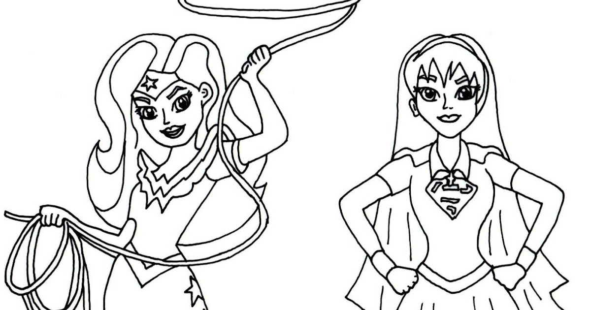 Free printable super hero high coloring pages wonder woman and supergirl super hero high coloring page