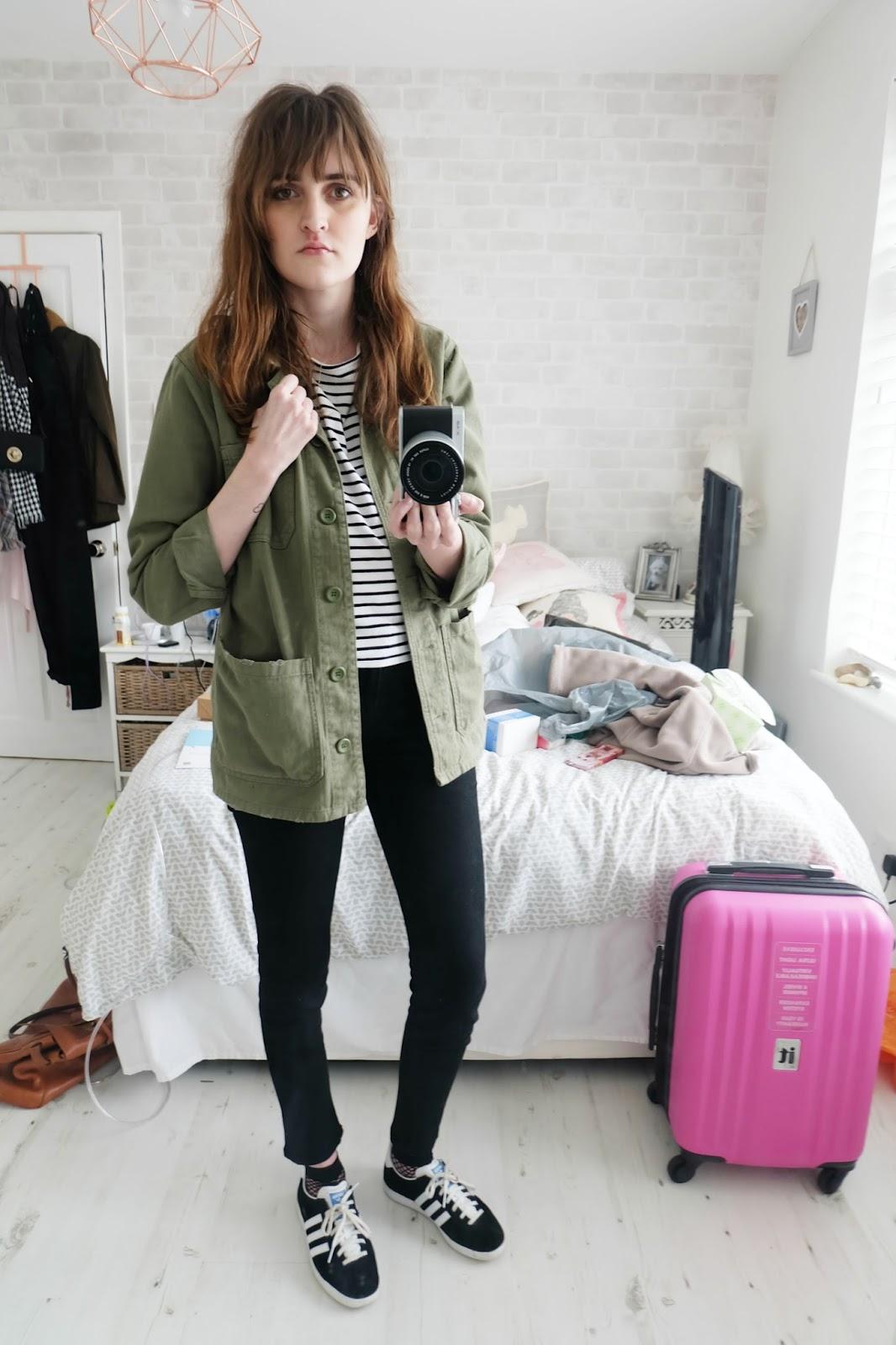 topshop shacket, j brand verity jeans, fishnet socks, adidas gazelles