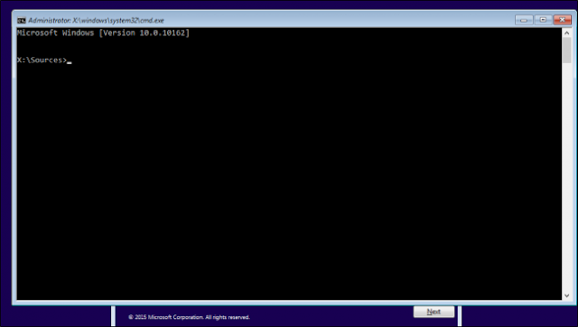 saat dialog install windows muncul, tekan shift+F10 untuk memunculkan command prompt