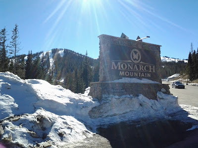 Monarch Mountain ski area with the sun shining.