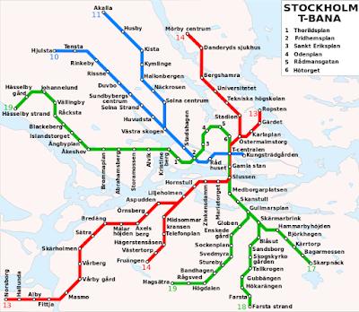 Mapa del metro en Estocolmo, Suecia