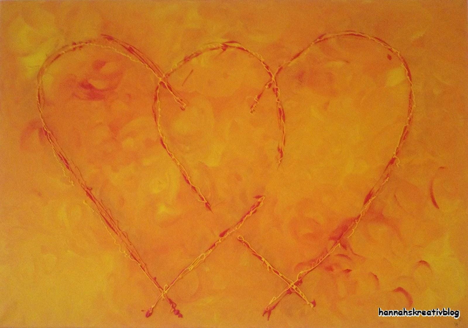 Hannahs Kreativblog Zwei Herzen Auf Leinwand