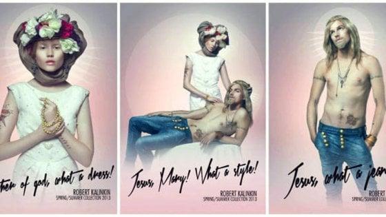 """Resultado de imagen de campaña publicitaria a dos modelos disfrazados de Jesús y María acompañada de frases como """"¡Jesús, qué pantalones!"""" o """"¡Querida María, qué vestido!""""."""
