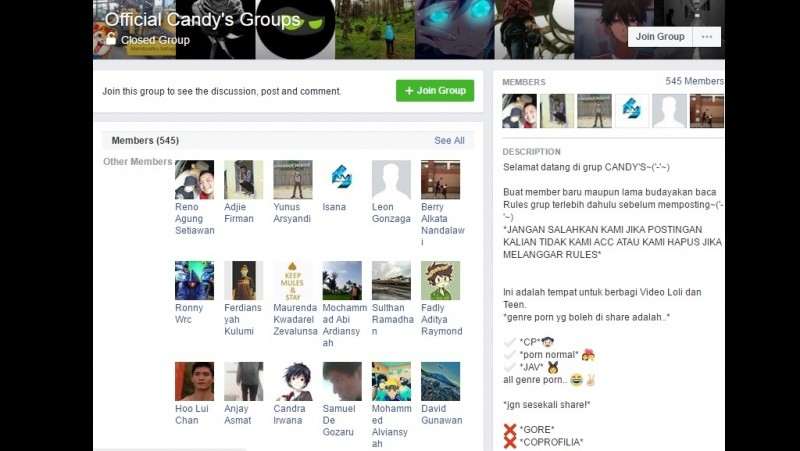Grup Official Candy's Groups di Facebook