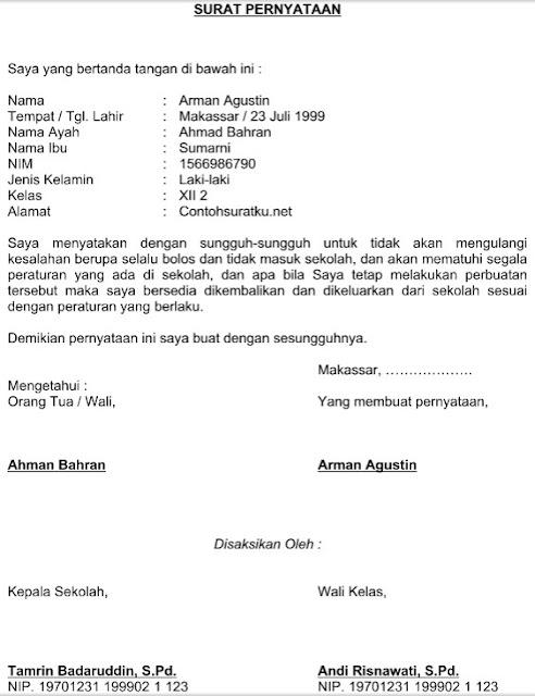 Contoh Surat Pernyataan Tidak Melakukan Pelanggaran Siswa File Word
