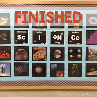 Science Bulletin Boards: Here's an easy and fun way to decorate a board for your science classroom! Step 5 is to admire the finished board!