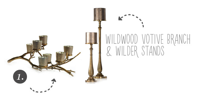 Wildwood & Wilder - Gold Branch Votive and votive stands from Accent Decor