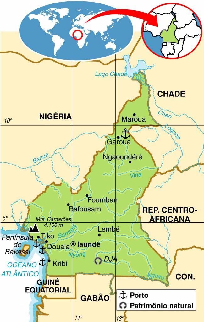 Camarões | Mapas Geográficos dos Camarões