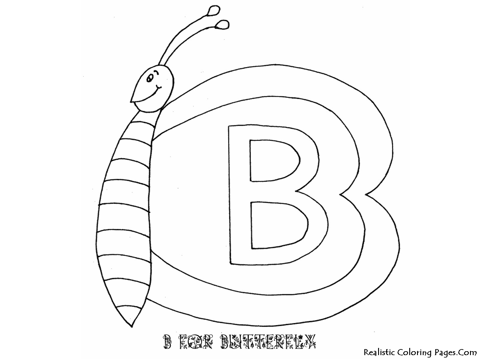b for butterfly coloring pages - photo #12