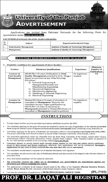University of Punjab Jobs in Pakistan for Teachers
