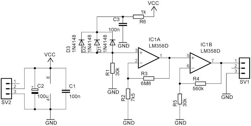 circuit diagram with regular diode used as a photo-element