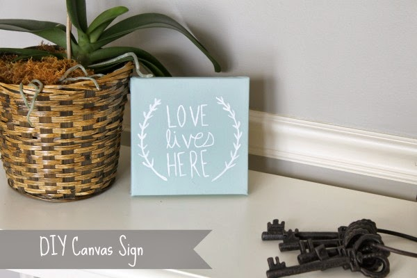 DIY painted LOVE LIVES HERE canvas