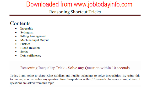 Reasoning Shortcut and Tricks for Competitive Exams Free PDF Download