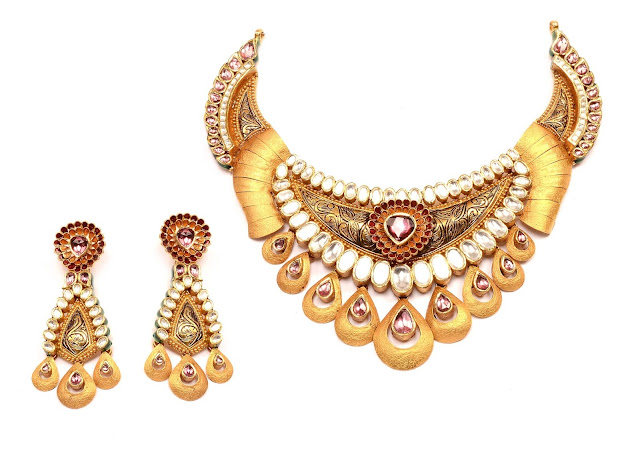 Gold Necklace studded with uncut diamond and precious stones_ INR 1125000